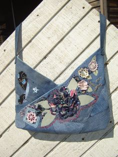 Upcycled Crazy Quilt Denim Triangle Bag Purse fabric rose butterfly garden Eco friendly