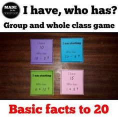 - Group or whole class basic facts game Addition Facts, Addition And Subtraction, Class Games, Numeracy, Common Core Standards, Student Learning, Small Groups, Maths, Teaching Resources