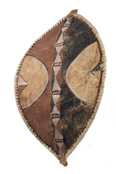 Ceremonial War Shield with painted bold patterns on animal hide, wood and thong interior bracing, Burkina Faso, x African American Men, Ancestry, Auction, Animal, Patterns, Wood, Interior, Africa, Block Prints