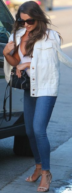 a21141b9a3c Who made Lea Michele s black handbag