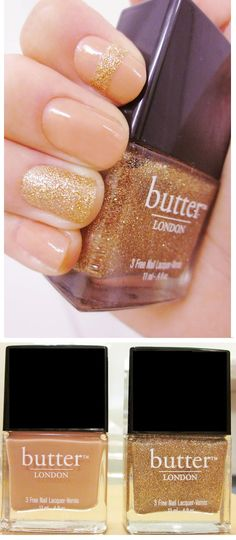 "Butter London ""Tea with the Queen"" (apricot beige) and ""West end Wonderland"" (gold glitter) nails ♥ Perfect for summer with golden sand by the beach!"