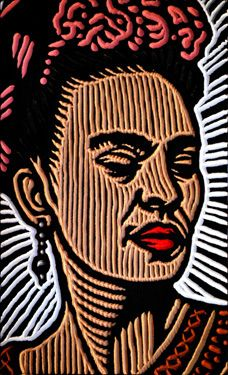 "Kahlo, by Lisa Brawn via Flickr.  painted woodcut block on salvaged Douglas Fir 6x10x1.5"" 2011"