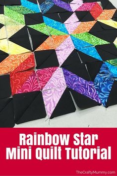 This would be a great quilt for bright bandanas on black Rainbow Star Mini Quilt Progress - Create this rainbow star using a couple of jelly rolls and an afternoon Star Quilt Blocks, Star Quilt Patterns, Star Quilts, Easy Quilts, Mini Quilts, Jelly Roll Quilt Patterns, Rainbow Quilt, Rainbow Star, Half Square Triangle Quilts