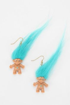 Urban Renewal Treasure Troll Earring from Urban Outfitters. Saved to Jewelry. Love The 90s, My Love, Urban Outfitters, 90s Theme, Grunge, Neon Hair, Aqua, Turquoise, 90s Party