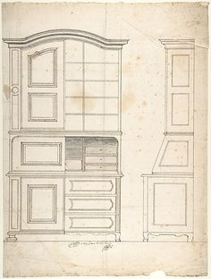 Design for a cabinet Poster Print by Anonymous, century Period: century Date: century Medium: Pen and brown ink, brush and gray wash Dimensions: sheet: 16 x 12 in. Furniture Styles, Unique Furniture, Furniture Plans, Furniture Design, Georgian Furniture, French Furniture, Miniature Furniture, Metropolitan Museum, Drawing Furniture