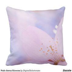 Pink cherry blossom outdoor pillow