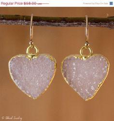 CHRISTMAS SALE Druzy Heart Earrings  Drusy Quartz Heart by OhKuol