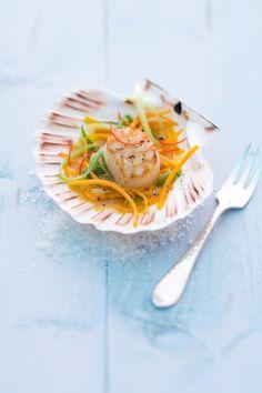 Serviervorschlag für Gegrillte Jakobsmuschel mit Kürbis und Orangen-Chili-Butter