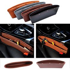 Luxury Vehicle Front Seat Gap Filler Leather Organizers