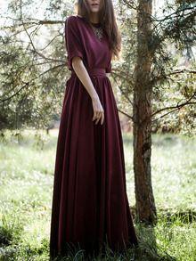 Burgundy Round Neck Maxi Dress -SheIn(Sheinside)