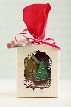"ohmygosh, LOVE this.  super cute little (jello box sized) christmas ""shadow box"" dealie.  mini tutorial ahoy!"