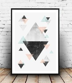 Triangles wall art Geometric poster Abstract print by Wallzilla