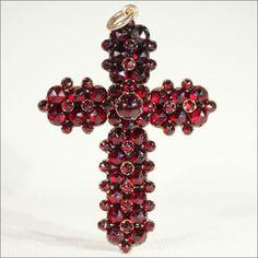 Antique Victorian Bohemian Garnet Cross Pendant, c. 1880 at Victoria Sterling on RubyLane.com