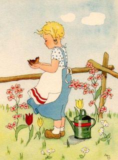 Anneliese Bauer-A B Vintage Children's Books, Vintage Postcards, Vintage Images, Vintage Art, Antique Illustration, Children's Book Illustration, Vintage Illustrations, Old Greeting Cards, Office Art