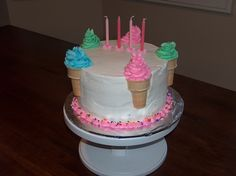 Ice Cream Cone Cake Had to make an easy cake for DD's bday as I was pregnant. Ice cream cones cut in half and. 7th Birthday Party Ideas, Birthday Parties, Birthday Cakes, Ice Cream Cone Cake, Cupcake Cones, Birthdays, Cupcakes, Desserts, Super Easy