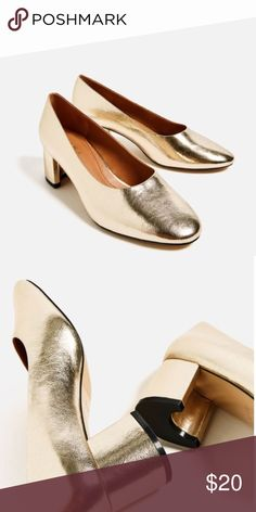 Zara Mid Heel Laminated Shoes (GOLD) Shiny gold block heel, will work for wider feet. Never worn, only tried on. *Will send pictures IRL if requested! Zara Shoes Heels