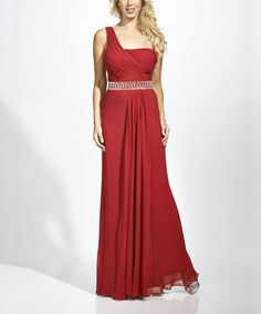Take a look at this Burgundy Embellished Silk Asymmetrical Dress - Women by Nina Austin on #zulily today!