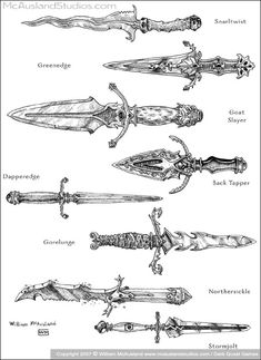 Magic Daggers group 3 by William McAusland RPG Art Bookcovers Concept Art ink warriors wizards dungeon portals a Tattoo Sketches, Tattoo Drawings, Art Sketches, Art Drawings, Sword Drawings, Medieval Tattoo, Sword Tattoo, Dagger Tattoo, Fantasy Concept Art