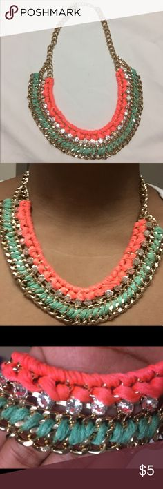 Neon Necklace • Neon pink and mint green fabric beaded or intertwined in gold links  • rhinestones under neon pink • worn only to take these pictures but never before that  • Excellent, like new condition  • Pet free and smoke free home 🏡  • Same day postal drop 📦✈️ Jewelry Necklaces