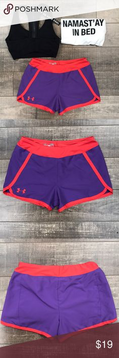 "Under Armour Purple & Coral Shorts Incredibly soft and comfy shorts. Loose fit. 100% Polyester. Waist is 13"" laying flat. No trades. Size is youth large but would still fit women's small. Save 10% on 2 or more regular priced items. Under Armour Bottoms Shorts"