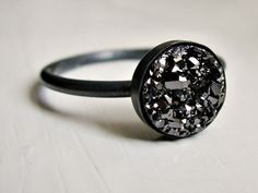 Black druzy ring - oxidized sterling silver ring - minimalist - everyday ring - modern ring