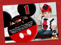 HUGE SELECTION Mickey Mouse Invitation - Red Yellow Black Mickey Mouse Birthday Invitations - Mickey Mouse Party Invitation on Etsy, $10.00