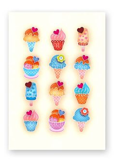 Summer Ice Cream kitchen art print  Kids room by InkFivePrints, $16.00