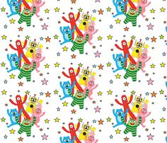 Yo Gabba Gabba fabric by reasha on Spoonflower - custom fabric This is what I'd like my mom to use to make the crib stuff!