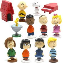 12pcs/set Peanuts Movie Charlie Brown Woodstock Lucy Franklin Dolls PVC Action Figures Anime Figurines Kids Toys For Boys Girls(China (Mainland))