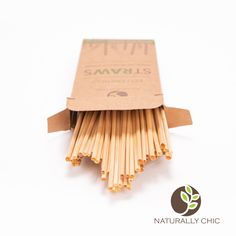 25 Pack. Biodegradable Eco-Friendly Non-Toxic Disposable Vie Naturals Wheat Drinking Straws Compostable