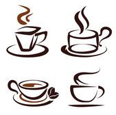 Vector conjunto de ícones de xícaras de café — Vetor de Stock