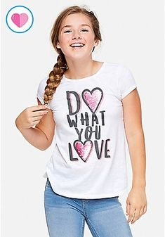 Justice is your one-stop-shop for on-trend styles in tween girls clothing & accessories. Shop our Flip Sequin T Back Top. Tween Fashion, Cute Fashion, Girl Fashion, Hip Hop Dance Outfits, Girl Outfits, Stylish Shirts, The Most Beautiful Girl, Cute Tops, T Shirts For Women