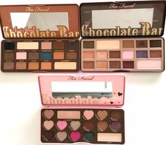 Too Faced chocolate palette comparison: chocolate bar, semi-sweet and bon bon. I only own Bon Bon but its HG which Ive heard the original is as well.