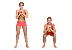kvinne gjør knebøy, squat, bikiniklar, øvelse