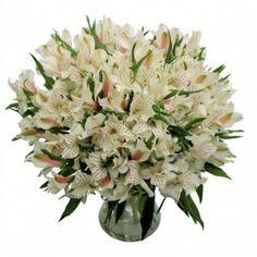 #4. white alstroemeria centerpiece - Google Search (foliage will accent in clear glass vase)