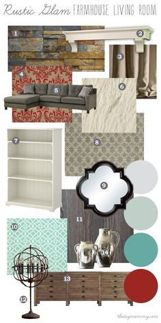 Mood Board: Rustic Glam Farmhouse Living Room - Our DIY House by The DIY Mommy. Neutral, rustic pieces and finishes with splashes of rich colour.