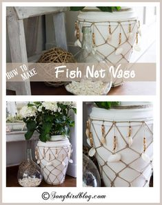 Did you know it was this easy to make a fish net for a vase or bottle? Well turns out it is, so I made a bit of nautical fish net decor by taking an old vase to the beach.