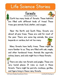 This Forests Life Science Reading Comprehension Worksheet will help your students build their reading comprehension skills while reading about a non-fiction text about forests. Reading Comprehension Worksheets, Phonics Reading, Reading Strategies, Reading Skills, Teaching Reading, Learning, Reading Response, Comprehension Strategies, Science Worksheets