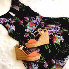 """Moon Collection Black Floral Skater Dress Feminine and floral! This floral on black is right on trend and super cute in person! Bust: 16"""", Waist: 14"""", Length: 32"""". Perfect condition! Moon Collection Dresses"""
