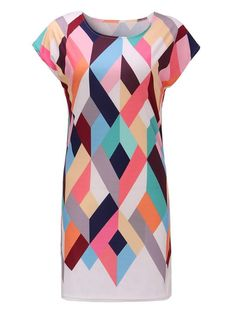 Women Short Sleeve 3D Geometric Printed Stretch Bodycon Mini Dress - Gchoic.com
