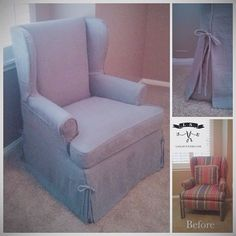 Here's a grey heavy linen wingback slipcover with waterfall skirt, welt cord edging, and tie details at the pleats. Huge transformation! Pin-fit and design by #me (Laura S.). Sewn by @i_dream_of_jeanies_designs #slipcover #slipcovers #linen #reuse #recycle #repurpose #ifreakinglovemyjob #transformation
