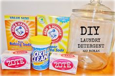 DIY Homemade Laundry Detergent  2 bars of Zote OR 3 bars of Fels-Naptha 2 boxes Baking Soda (4 lbs each) 2 boxes Washing Soda (4 lbs each) 2 Oxi-Clean tubs (3.5 lbs each) (optional) Fabric Softener Crystals (optional – I didn't use)