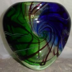 Hand Blown Cobalt Blue Green Swirl Bubble Glass Floral Vase Art Sculpture 6""