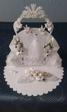 Cake wedding topper card
