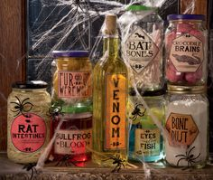 Creepy Halloween Jars -- Crocodile brains, fish eyes, bat bones. . .what's a creepy laboratory without spooky specimens? Check out these gruesome jars and make some for your own mad lab—if you have the guts!