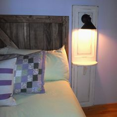 Master Bedroom Up-cycled Bi-fold Doors Turned Reading Light W/shelf!