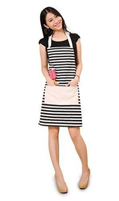 FSK Cotton Canvas Women's Apron with Convenient Pocket Durable Stripe Kitchen and Cooking Apron for Women Professional Stripe Chef Apron for Cooking, Grill and Baking(black and white)