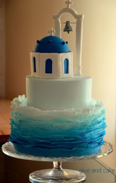 A Santorini cake - would love this for my sister in law also. Santorini is her favourite place Pretty Cakes, Cute Cakes, Beautiful Cakes, Amazing Cakes, Too Much Chocolate Cake, Bolo Original, Greek Cake, Island Cake, Sea Cakes