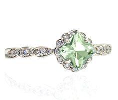 Palladium Asscher Green Amethyst Ring Diamond Halo by RareEarth, $845.00