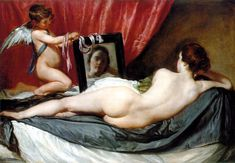 Diego Velázquez (1599–1660)  Title	 Deutsch: Venus mit Spiegel English: Venus at her Mirror Alternative title(s): English: The Rokeby Venus Date	circa 1644-1648 Medium	oil on canvas Dimensions	122.5 × 177 cm (48.2 × 69.7 in) Current location	 National Gallery, London